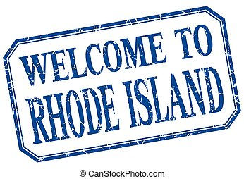 Rhode Island - welcome blue vintage isolated label