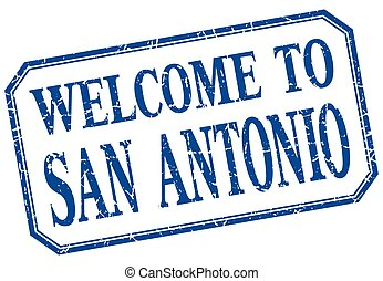 San Antonio - welcome blue vintage isolated label