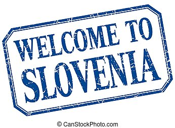 Slovenia - welcome blue vintage isolated label