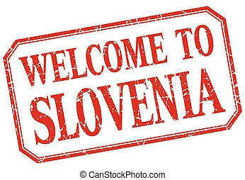Slovenia - welcome red vintage isolated label