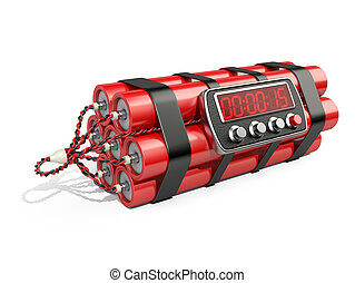 Bomb with digital clock timer 3D illustration Isolated on...