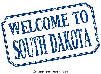 South Dakota - welcome blue vintage isolated label