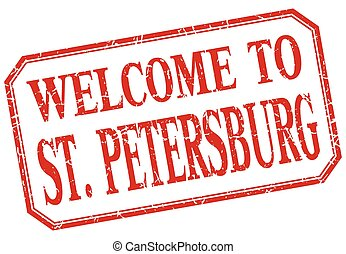 St Petersburg - welcome red vintage isolated label
