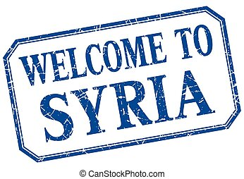 Syria - welcome blue vintage isolated label