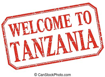 Tanzania - welcome red vintage isolated label