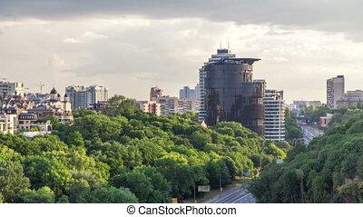 Panorama of Kiev city center timelapse hyperlapse, Ukraine -...