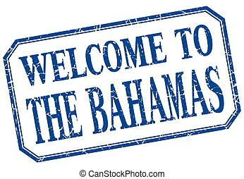 The Bahamas - welcome blue vintage isolated label
