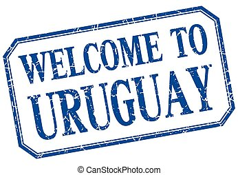 Uruguay - welcome blue vintage isolated label
