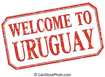Uruguay - welcome red vintage isolated label