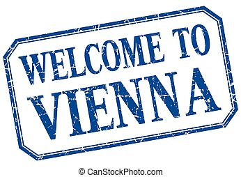Vienna - welcome blue vintage isolated label