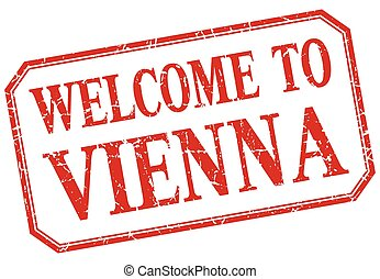 Vienna - welcome red vintage isolated label