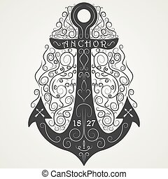 Vintage hand drawn logo flourish anchor. Vector illustration.