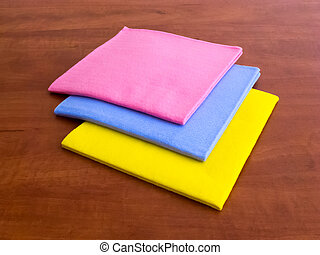 Colorful household cleaning wipes