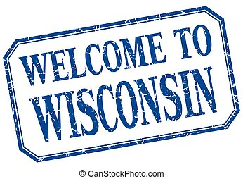 Wisconsin - welcome blue vintage isolated label
