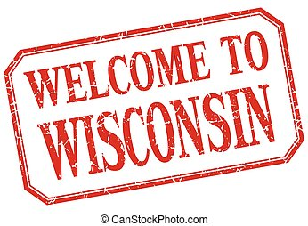 Wisconsin - welcome red vintage isolated label