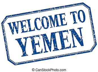 Yemen - welcome blue vintage isolated label