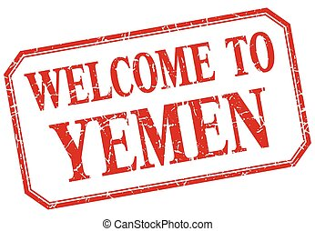Yemen - welcome red vintage isolated label