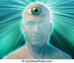Third eye Man - Man with third eye, psychic supernatural...