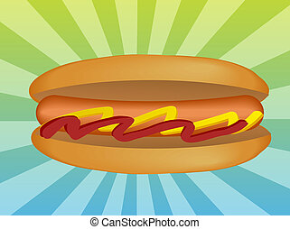 Hotdog illustration - Hot dog illustration, sausage in bun...