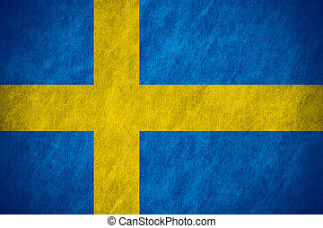flag of Sweden or Swedish banner on canvas texture