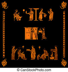 Collage of ancient greek vase pictures of women at home