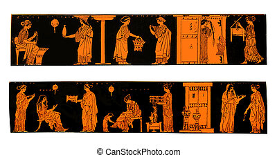Ancient Greek vases with domestic scenes - Ancient Greek...