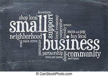 small business concept on balckboard - small business...