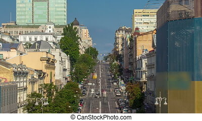 Cars roar down Khreshchatyk and Khmelnitsky street timelapse in Kyiv, Ukraine.