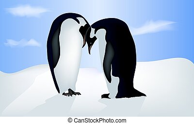 Vector illustration of valentine's card with two penguins