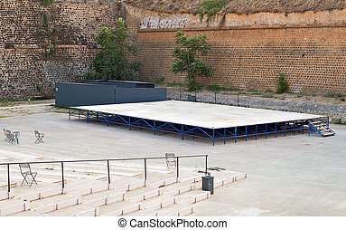 Empty outdoor stage of theatre.