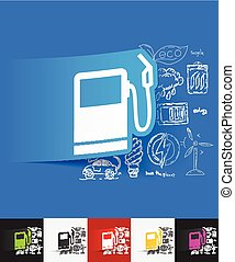 gas station paper sticker with hand drawn elements - hand...