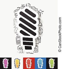 fluorescent light bulb paper sticker with hand drawn...