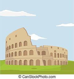 Colosseum in Rome background. Italy Landmark architecture...