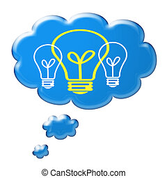 Cloud thought with a light bulb