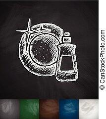 dishwashing liquid icon Hand drawn vector illustration...