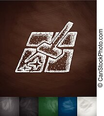 mopping icon. Hand drawn vector illustration. Chalkboard...