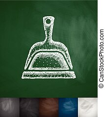 dustpan icon Hand drawn vector illustration Chalkboard...