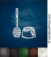 toilet brush icon Hand drawn vector illustration Chalkboard...