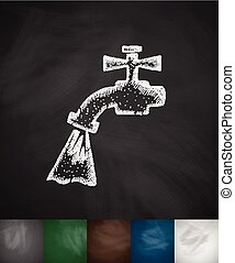 tap water icon. Hand drawn vector illustration. Chalkboard...