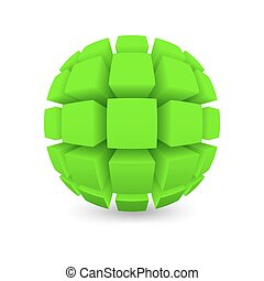 Divided green sphere