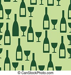 Bottle and glasse seamless pattern - Bottle and glasse...