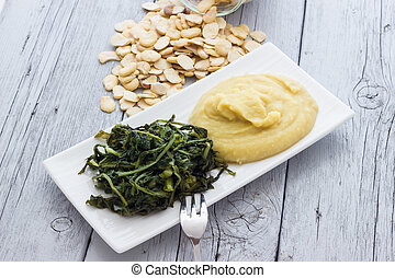Mashed fava beans with chicory