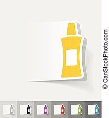 realistic design element flacon - flacon paper sticker with...