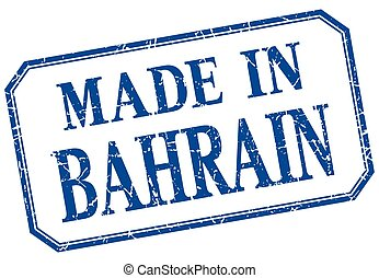 Bahrain - made in blue vintage isolated label