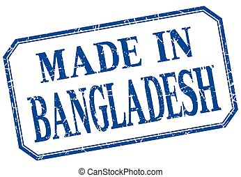 Bangladesh - made in blue vintage isolated label