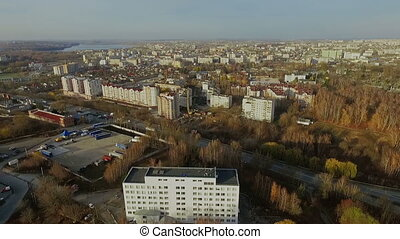 Aerial view of city Ternopil Ukraine