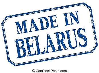 Belarus - made in blue vintage isolated label