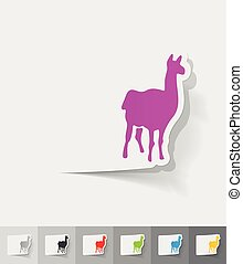 realistic design element. lama - lama paper sticker with...