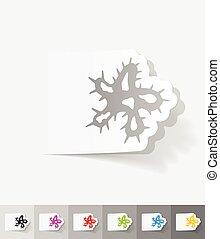 realistic design element microbe - microbe paper sticker...
