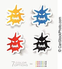 realistic design element microbe - microbe paper sticker...